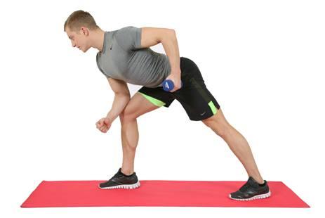 упражнения для спины с гантелями №3
