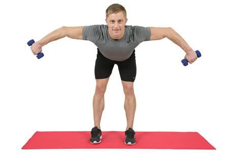 упражнения для спины с гантелями №4