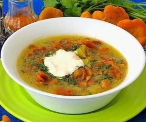 Калорийность и рецепт диетического супа с лисичками