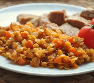 Калорийность и рецепт отварной чечевицы с говяжьим фаршем