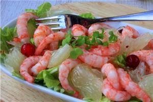 Калорийность салата с креветками и помело