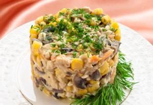 Сколько калорий в салате с шампиньонами и кукурузой