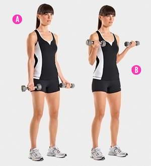 Как выполнять эффективные упражнения для похудения рук с гантелями
