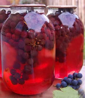 Рецепт приготовления компота на зиму из винограда Изабелла