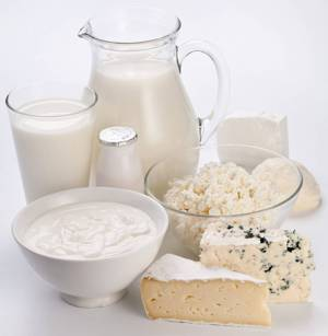 Таблица основных продуктов, содержащих лактозу