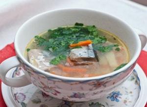 диетический суп с сайры консервированной