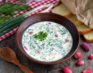 калорийность овощной окрошки без колбасы и без картошки