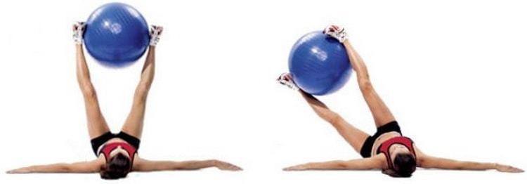 упражнение наклоны в сторону с фитболом