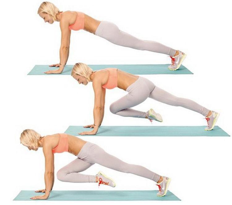 выполняем упражнение скалолазание