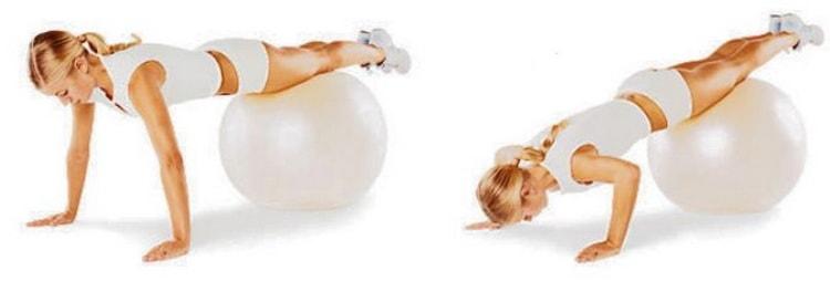 упражнение отжимание с фитбола
